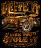 DRIVE IT LIKE YOU STOLE IT STOTEN PARTS BLACK SHORT SLEEVE TEE-SHIRT (Sold by the piece)