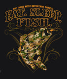 EAT SLEEP FISH CAMO SHORT SLEEVE TEE SHIRT SIZE XXL ONLY (Sold by the piece)