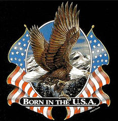 BORN IN THE USA FLYING EAGLE USA FLAGS TEE-SHIRT (Sold by the piece)