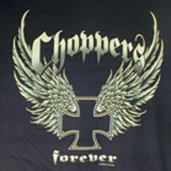 CHOPPERS WINGS SUPER BLACK TEE SHIRT (Sold by the piece) **- CLOSEOUT $ 2.50 EA