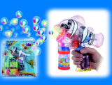 LIGHT UP SEE THROUGH CLOWN FISH BUBBLE GUN WITH SOUND (sold by the piece ) *- CLOSEOUT $ 3.95 EACH