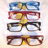 ASSTORTED PLASTIC FRAME CHEETER READERS ( sold by the dozen ) CLOSEOUT NOW ONLY 50 CENTS EA