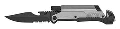 SILVER ( 5 IN 1 ) SURVIVAL FOLDING POCKET KNIFE ( sold by the piece )