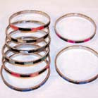COLORED SHELL WITH BLACK STRIP BANGLE BRACLETS (Sold by the dozen)- * CLOSEOUT NOW ONLY .750 CENTS EA