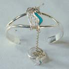 FANCY UNICORN CUFF SLAVE BRACELET W RING ON CHAIN (Sold by the piece) *- CLOSEOUT $ 7.50 EA