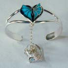 BUTTERFLY IN HEART CUFF SLAVE BRACELET W RING ON CHAIN (Sold by the piece) *