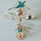 DOVE & UNICORN CUFF SLAVE BRACELET W RING ON CHAIN (Sold by the piece) *- CLOSEOUT NOW $ 5 EA