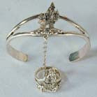 CASTLE CUFF SLAVE BRACELET WITH RING ON CHAIN  (Sold by the piece)