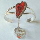 ABSTRACT HEART CUFF SLAVE BRACELET W RING ON CHAIN (Sold by the piece)  * CLOSEOUT NOW $ 6.50 EA