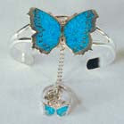 BUTTERFLY CUFF SLAVE BRACELET W RING ON CHAIN (Sold by the piece)