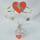 UNICORN IN HEART CUFF SLAVE BRACELET W RING ON CHAIN (Sold by the piece)