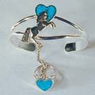 UNICORN WITH HEART CUFF SLAVE BRACELET W RING ON CHAIN (Sold by the piece)
