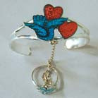 DOVE WITH TWO HEARTS CUFF SLAVE BRACELET W RING ON CHAIN (Sold by the piece) -* CLOSEOUT NOW $ 7.50 EA