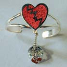 BROKEN HEART CUFF SLAVE BRACELET W RING ON CHAIN (Sold by the piece) -* CLOSEOUT NOW $ 7.50 EA