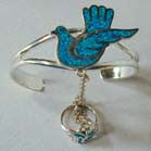 FLYING DOVE CUFF SLAVE BRACELET W RING ON CHAIN (Sold by the piece) * - CLOSEOUT $ 6.75 EA