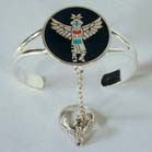 AZTEC BIRD INDIAN DANCER DESIGN CUFF SLAVE BRACELET W RING ON CHAIN (Sold by the piece) *- CLOSEOUT $6,50 EA