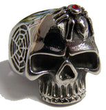 SKULL HEAD WITH SPIDER & WEB STAINLESS STEEL BIKER RING ( sold by the piece )