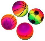 RAINBOW 9 INCH ASSORTED SPORTS BALLS  (Sold by the dozen)