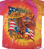 ONLY THE STRONG SURVIVE EAGLE TIE DYE TEE SHIRT SIZE MEDIUM  (Sold by the piece)