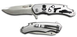 SILVER POLICE STAINLESS STEEL 8 INCH FOLDING KNIFE ( sold by the piece )