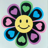 SMILE FACE FLOWER WITH HEARTS STICKER (Sold by the dozen)