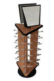 TRIANGLE WOODEN BROWN 18 PAIR SUNGLASS DISPLAY RACK  (Sold by the piece) *- CLOSEOUT NOW $29.50 EA