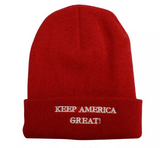 KNITTED EMBROIDERED TRUMP KEEP AMERICA GREAT BEANIE CAP, BLACK WHITE, RED