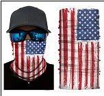AMERICAN FLAG FACE MULTI FUNCTION SEAMLESS BANANA WRAP ( sold by the piece or 10 PACK)