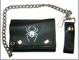 WHITE WIDOW SPIDER TRIFOLD LEATHER WALLET W CHAIN (sold by the piece)