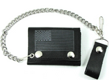 BLACK & GREY AMERICAN FLAG TRIFOLD LEATHER WALLETS WITH CHAIN (Sold by the piece)