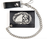 EMBROIDERED HORSE TRIFOLD LEATHER WALLETS WITH CHAIN (Sold by the piece)