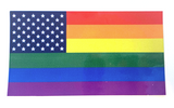 "RAINBOW PRIDE AMERICAN FLAG BUMPER STICKER 4 1/2"" X 2 1/2"" (sold by the piece or dozen)"