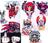 "144 PIECE BULK LOT ASSORTED 6"" BIKER DECAL STICKERS"
