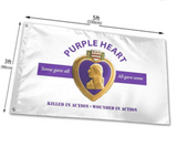 WHITE PURPLE HEART WOUNDED IN ACTION 3 X 5 FLAG (sold by the piece or dozen)