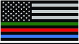 RED/ GREEN/ BLUE LIVES THIN BLUE LINE AMERICAN FLAG BUMPER STICKER (sold by the piece or dozen)