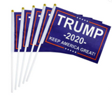 "TRUMP 2020 FLAG ON A STICK 9 "" x 6 ""( sold the piece or 10 pack)"
