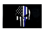 THIN BLUE LINE AMERICAN SKULL 3 X 5 BLACK FLAG (sold by the piece)