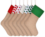 Natural burlap stocking for hanging christmas gifts (pick style or assorted)