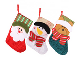 CUTE CHRISTMAS STOCKINGS! BEAR SANTA OR SNOWMAN (sold by the piece or dozen)