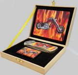 FIRE FOX FLAMES MOTORCYCLE KNIFE WITH OIL LIGHTER BOXED KNIFE (Sold by the piece)
