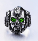 CRYSTAL GREEN  EYE SKULL WITH SERPENT SNAKE METAL BIKER RING (sold by the piece)