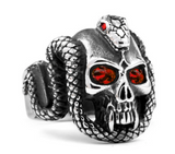 CRYSTAL RED  EYE SKULL WITH SERPENT SNAKE METAL BIKER RING (sold by the piece)