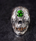 THIRD EYE GREEN  CRYSTAL MUMMY SKULL  METAL BIKER RING (sold by the piece)