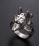 SILVER ANUBIS EGYPTIAN GOD WITH ANHK METAL RING (sold by the piece)