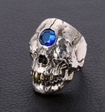THIRD EYE BLUE  CRYSTAL MUMMY SKULL  METAL BIKER RING (sold by the piece)