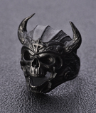LARGE VIKING BLACK SKULL WITH HORNS METAL BIKER RING (sold by the piece)