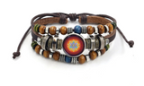 BEADED LEATHER GEOMETRIC CHAKRA BRACELETS (sold by the piece)