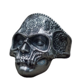 SUGAR SKULL MUMMY DECORATED SKULL METAL BIKER RING (sold by the piece)
