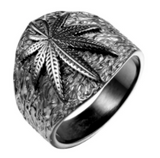 BLACK POT LEAF STAINLESS STEEL BIKER RING (sold by the piece)