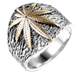 GOLD & SILVER POT LEAF STAINLESS STEEL BIKER RING (sold by the piece)
